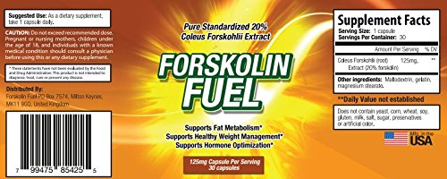 Forskolin Fuel Ingredients - Lable United States